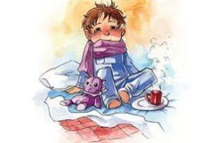 больной мальчик укутанный шарфом рисунок