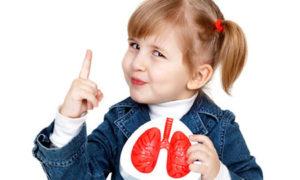 девочка держит рисунок здоровых лёгких человека