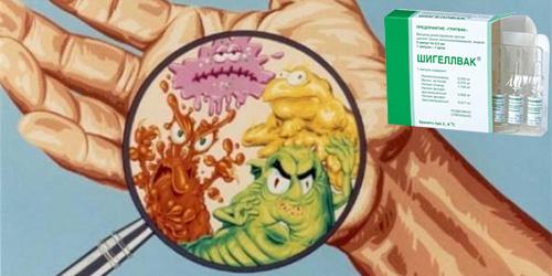 рисунок бактерий на руках человека и рядом вакцина от дизентерии
