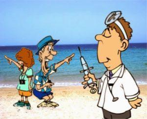 рисунок — туристы и доктор со шприцом