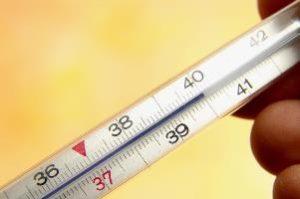 термометр показывает температуру 40 °C